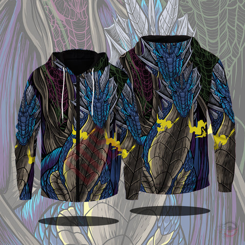 Original Design : Blue Dragon Zipped Hoodie