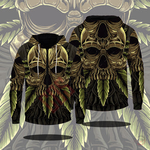 Original Designs : Skulls N Weed Zipped Hoodie