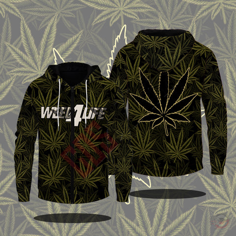 Original Design : Weed4Life Zipped Hoodie