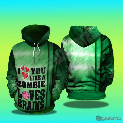 Plants Vs Zombies - I Love Brains Inspired Pullover Hoodie