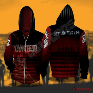 Red Dead Redemption : Wanted Zipped Hoodie