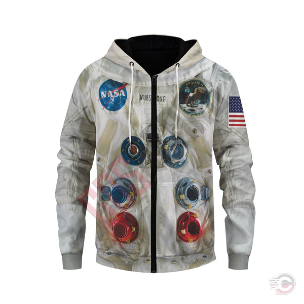 3d Suits : Armstrong Suit NASA Zipped Hoodie