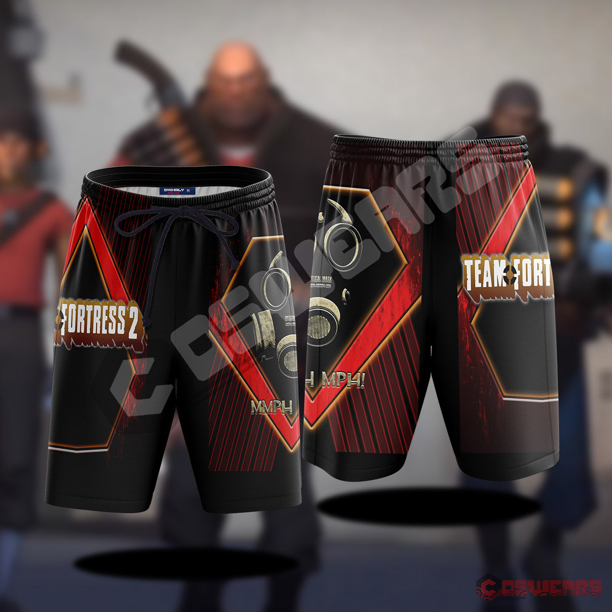Team Fortress : Optical Mask Inspired Beach Shorts