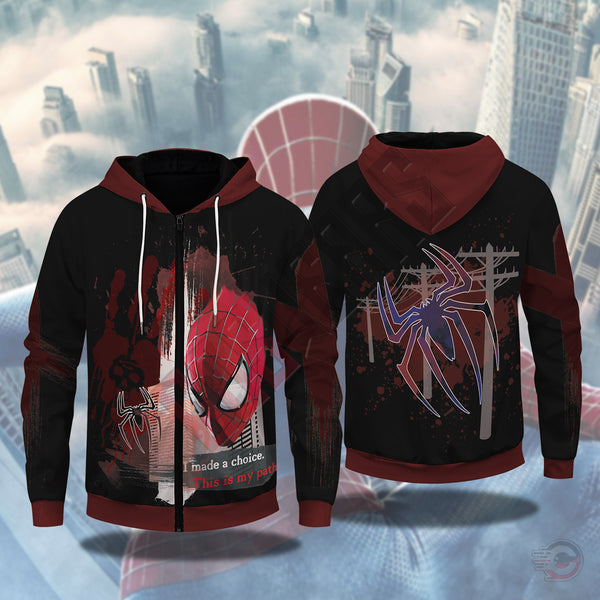 Spiderman Trash Polka Zipped Hoodie