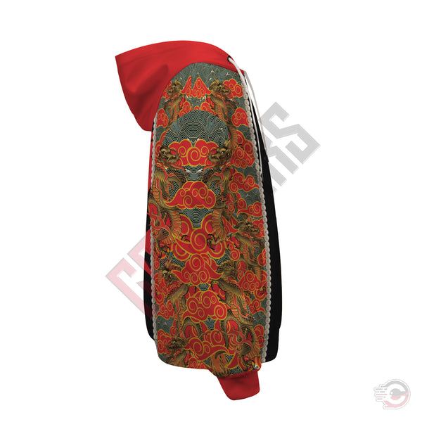 3D Skin Art : Oriental Japanese Design Zipped Hoodie