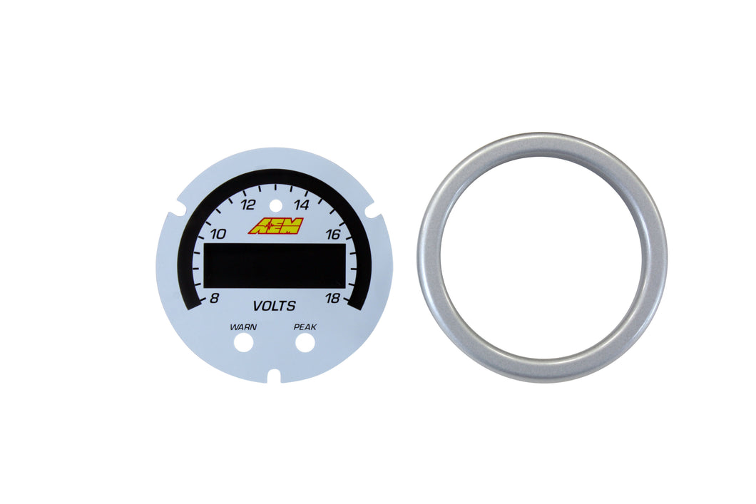 X-Series Volt Gauge 8~18V Accessory Kit. Silver Bezel & White Faceplate.