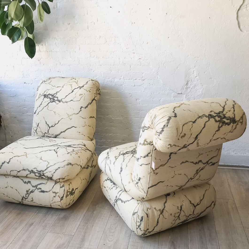 Donghia Ecru Marbled Slipper Chairs