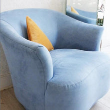 Load image into Gallery viewer, Blue Microsuede Swivel Chair **SALE**