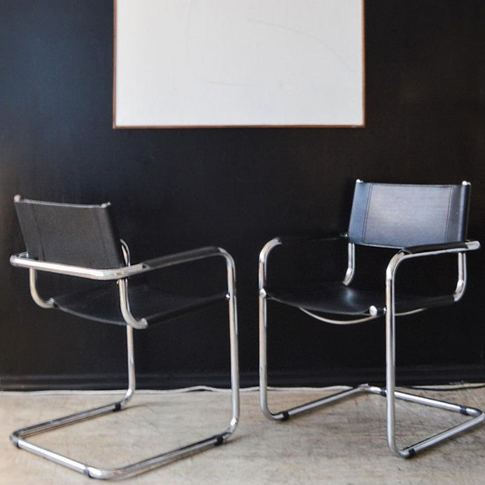 Noir Leather Cantilever Director Chairs