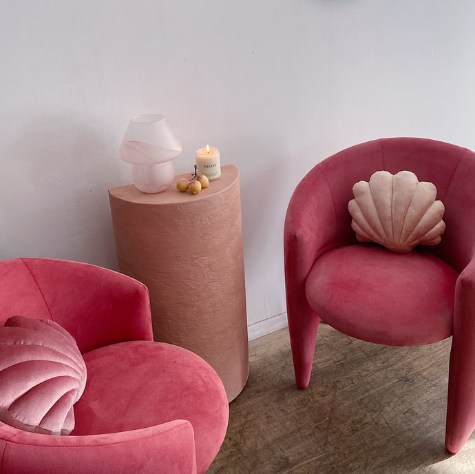 Coral Designer Suede Chairs