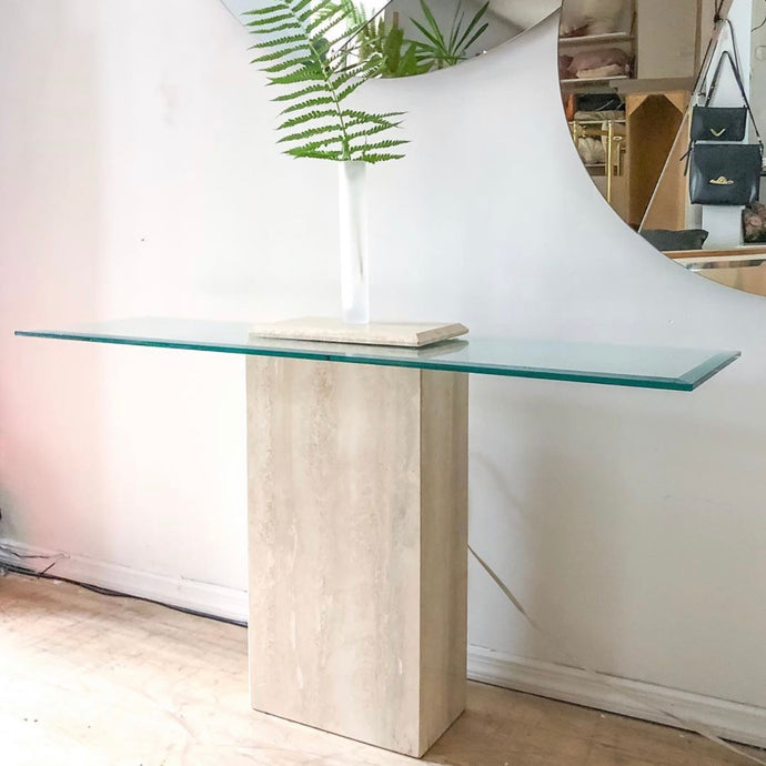 Travertine & Glass Console