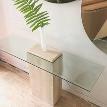 Load image into Gallery viewer, Travertine & Glass Console