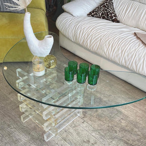 Lucite & Glass Jellybean Coffee Table
