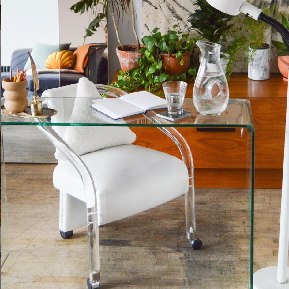 Lucite & Ivory Vegan Leather Rolling Chair