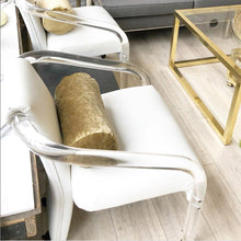 Load image into Gallery viewer, Lucite & Ivory Vegan Leather Rolling Chair