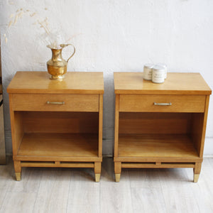 Pair Of Pecan Nightstands