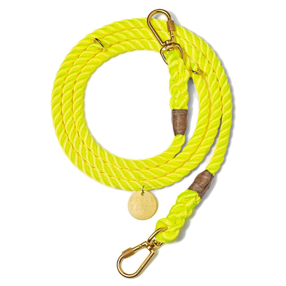 Neon Yellow Rope Dog Leash, Adjustable by Found My Animal
