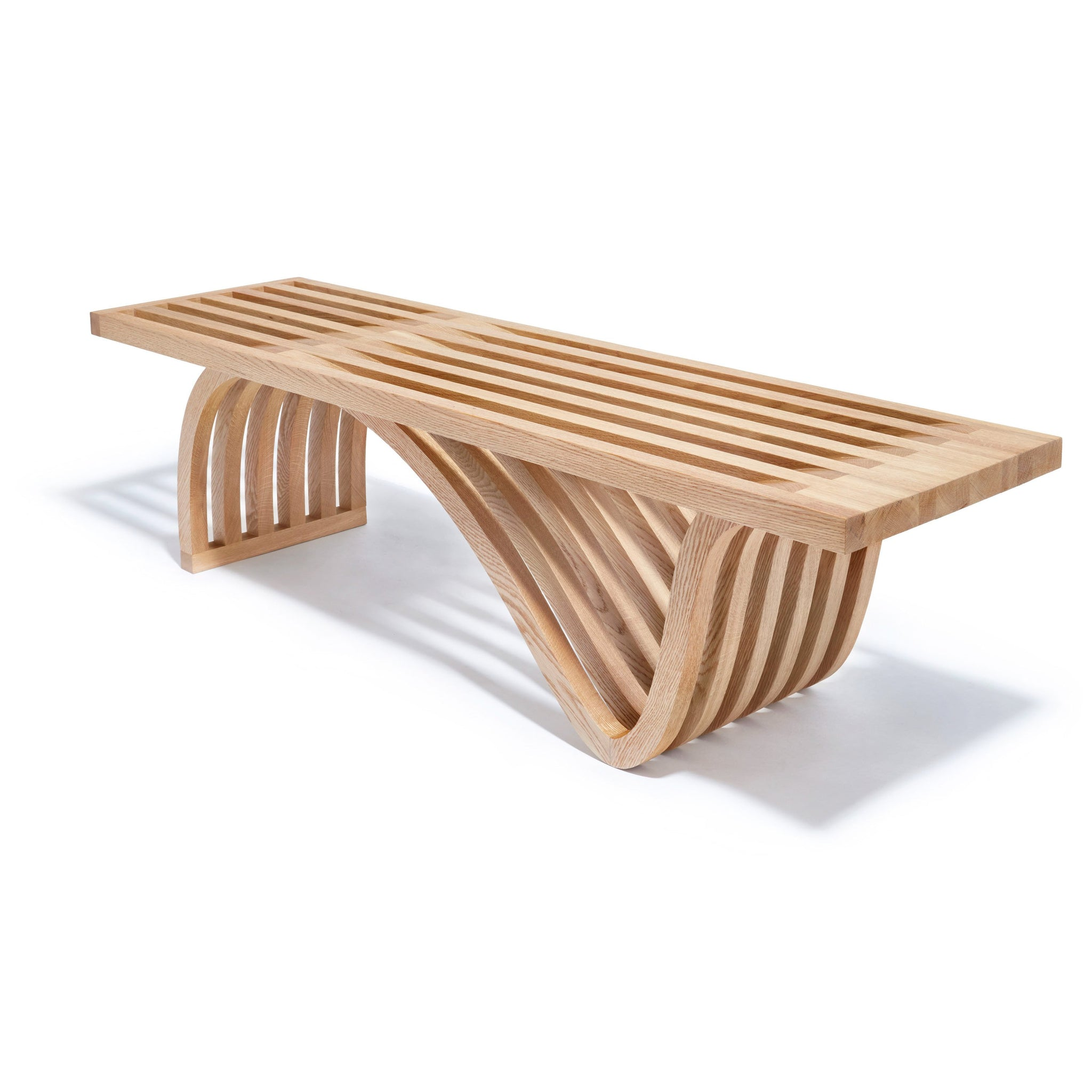 Picture of: Sculptural Slatted Oak Bench Coffee Table By Ot Tra Adaptations Ny