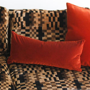 Velvet Lumbar Pillow - Rust