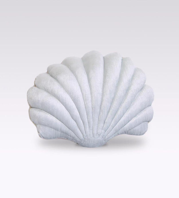 Shell Pillow in Ice Blue Velvet - Large