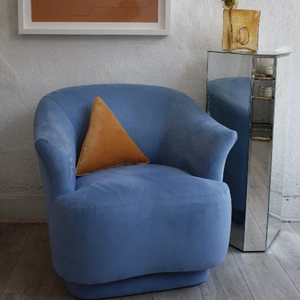 Blue Microsuede Swivel Chair **SALE**