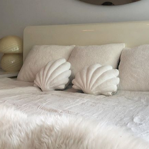 Shell Pillow in Pearl White Velvet - Small