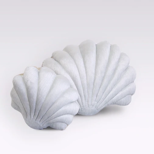 Shell Pillow in Ice Blue Velvet - Small