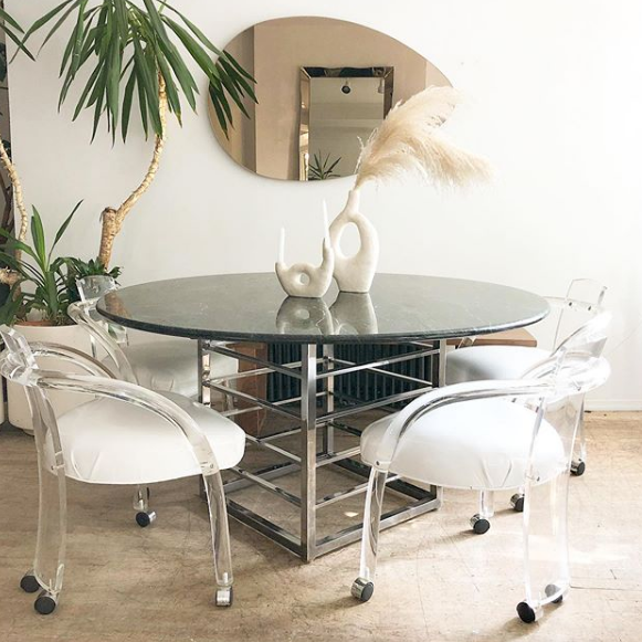 Emerald Marble & Chrome Sculptural Round Dining Table
