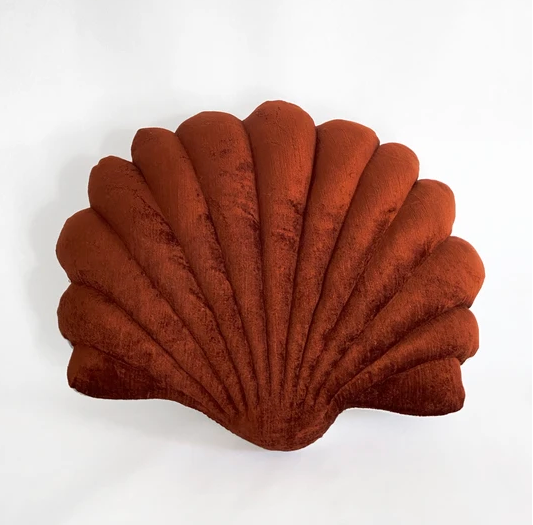 Shell Pillow in Sumac Velvet - Large
