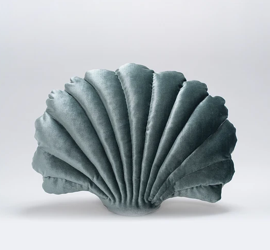 Shell Pillow in Pine Velvet - Large
