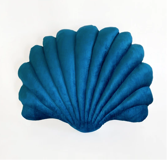 Shell Pillow in Peacock Blue Velvet - Large