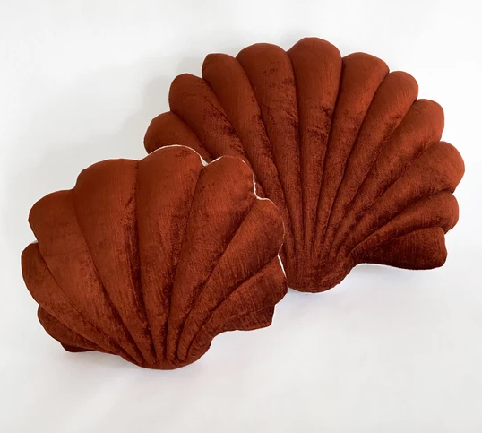 Shell Pillow in Sumac Velvet - Small