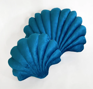 Shell Pillow in Peacock Blue Velvet - Small