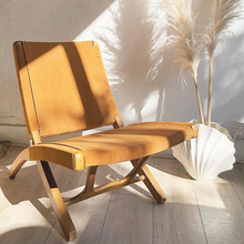 Load image into Gallery viewer, Camel Suede Folding Chair