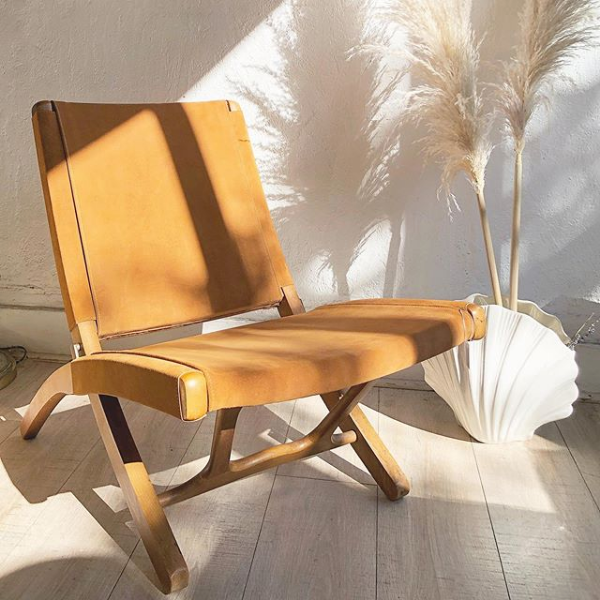 Camel Suede Folding Chair