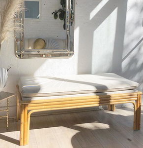 Ecru Linen and Bamboo Bench