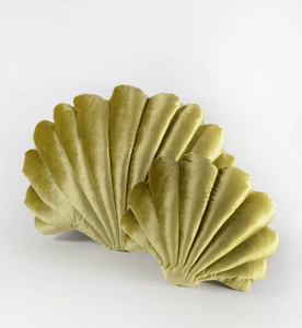 Shell Pillow in Chartreuse Velvet - Small