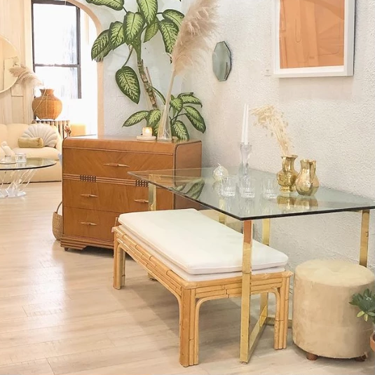 Parable Architectural Brass and Glass Dining Table
