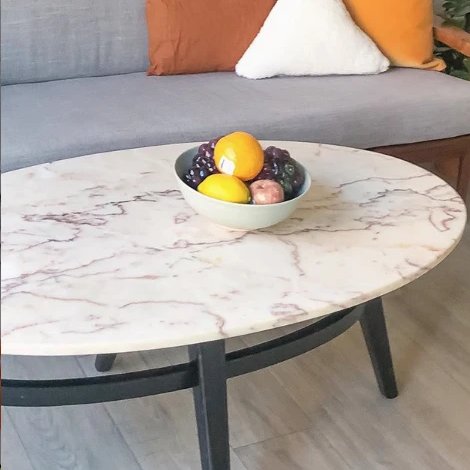Blush Marble Oval Coffee Table