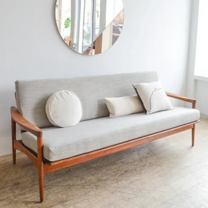 Walnut Daybed w/ Dove Grey Crypton Cushions