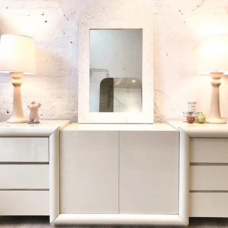 Ivory Lacquered Diamond Credenza