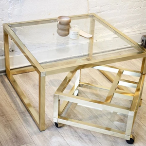 Brass and Glass Tier Coffee Table