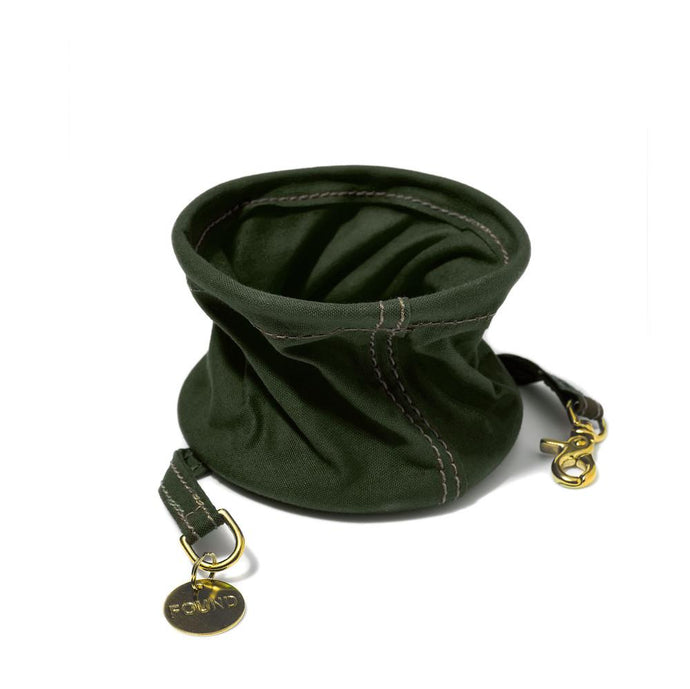 Cotton Canvas Collapsible Cat & Dog Water Bowl - Olive