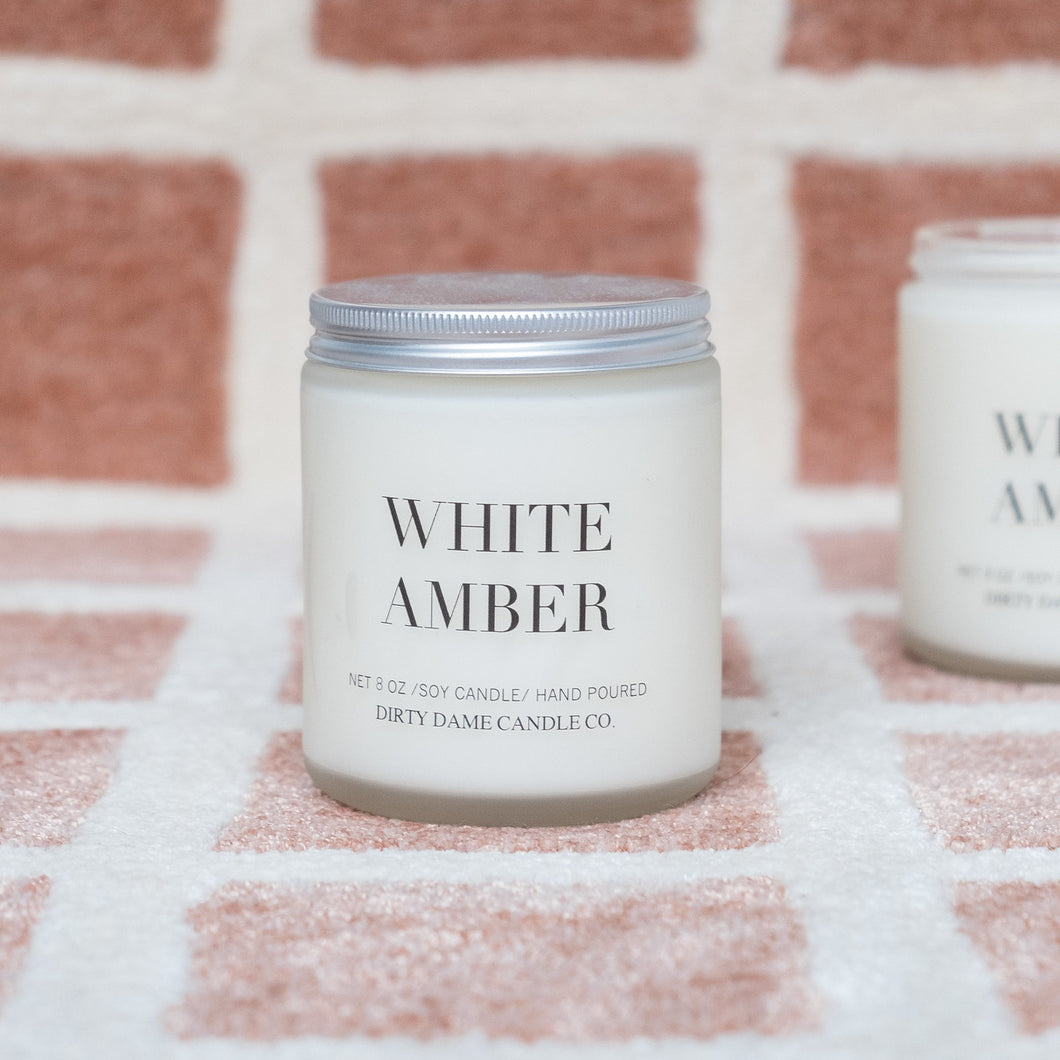 White Amber Scented Candle