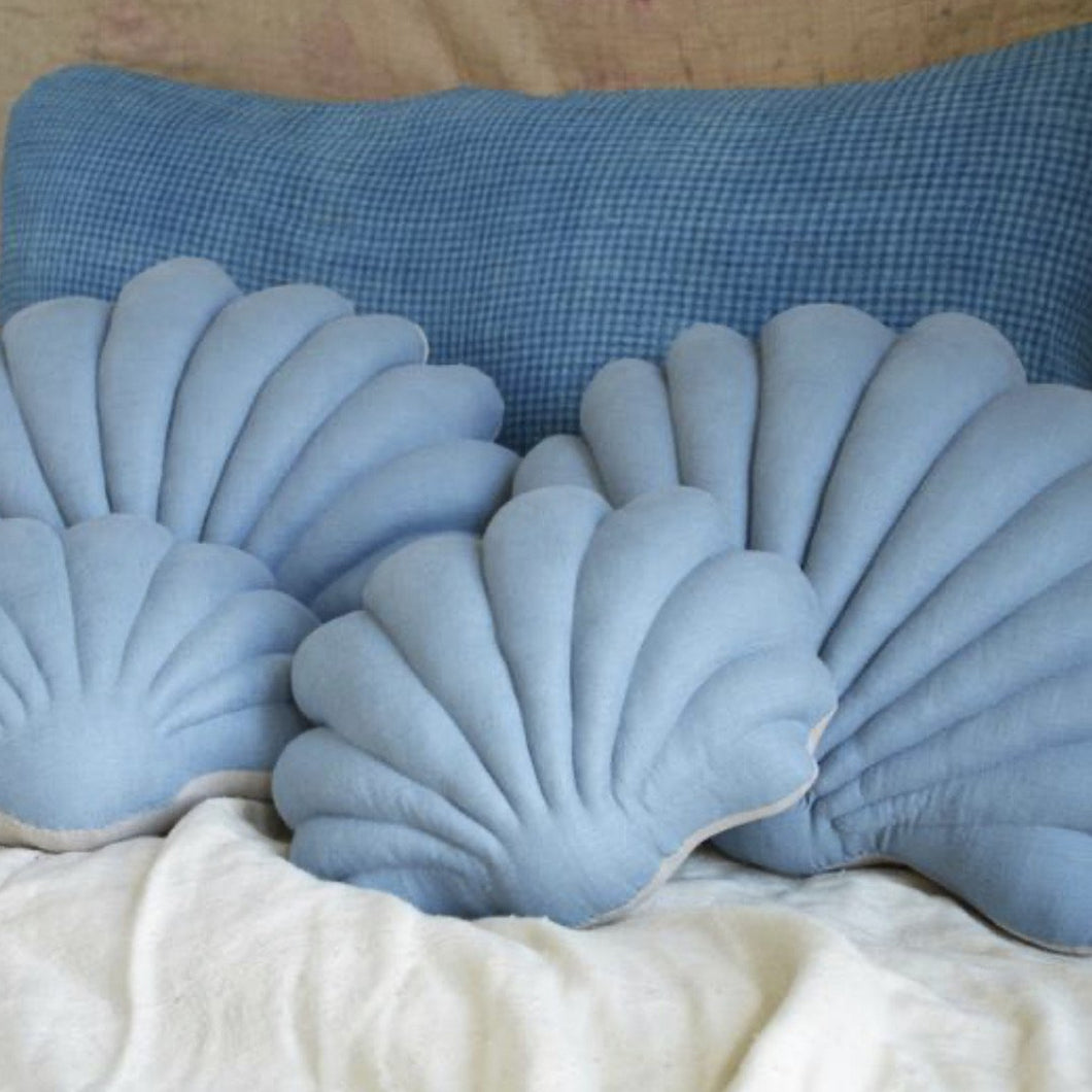 Shell Pillow in Silver Lake Blue Linen  - Large
