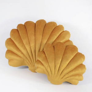 Shell Pillow in Cumin Velvet - Small