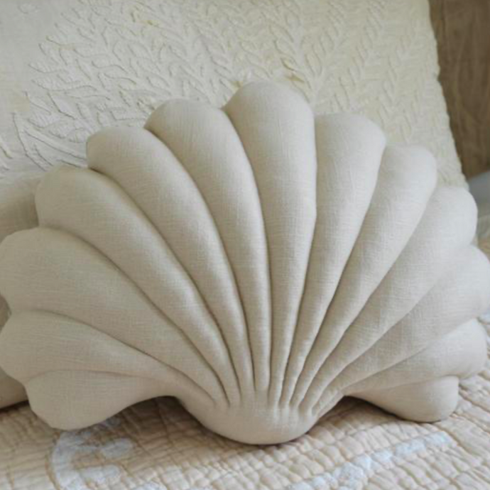 Shell Pillow in Mushroom Linen - Large