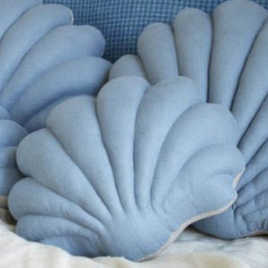 Shell Pillow in Silver Lake Blue Linen - Small
