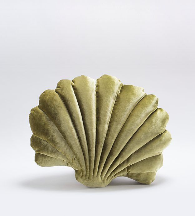 Shell Pillow in Chartreuse Velvet - Large