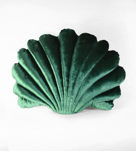 Shell Pillow in Emerald Velvet - Large